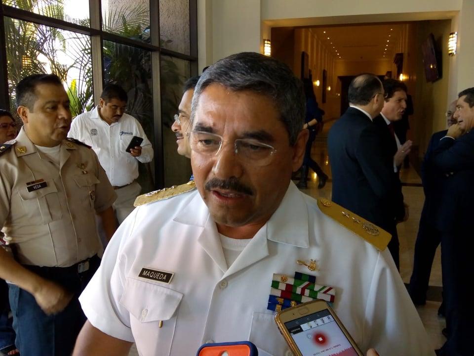 Mario Maqueda, comandante de la Marina, informó sobre el hallazgo de tomas en el campo de golf. (Foto: Especial)