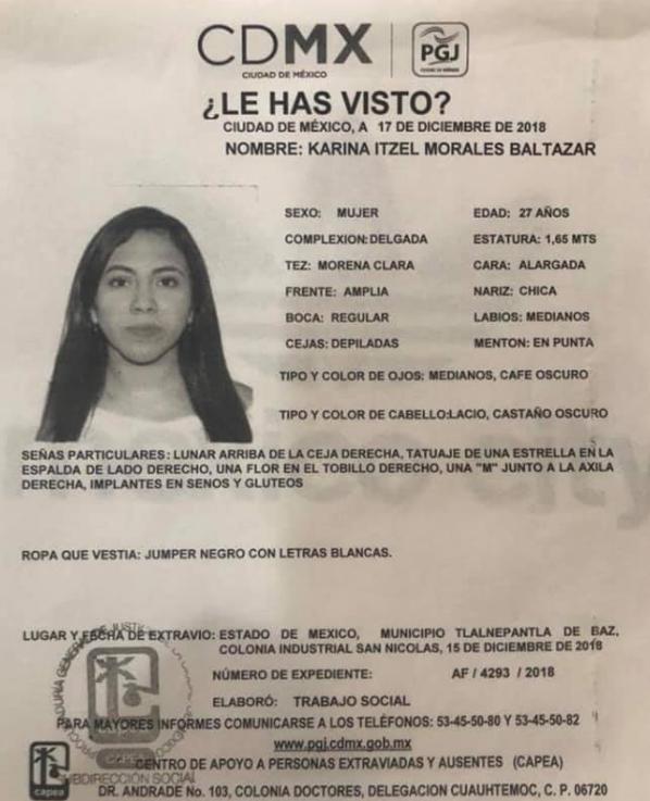 Karina Morales todavía es buscada por sus familiares (Foto: Archivo)