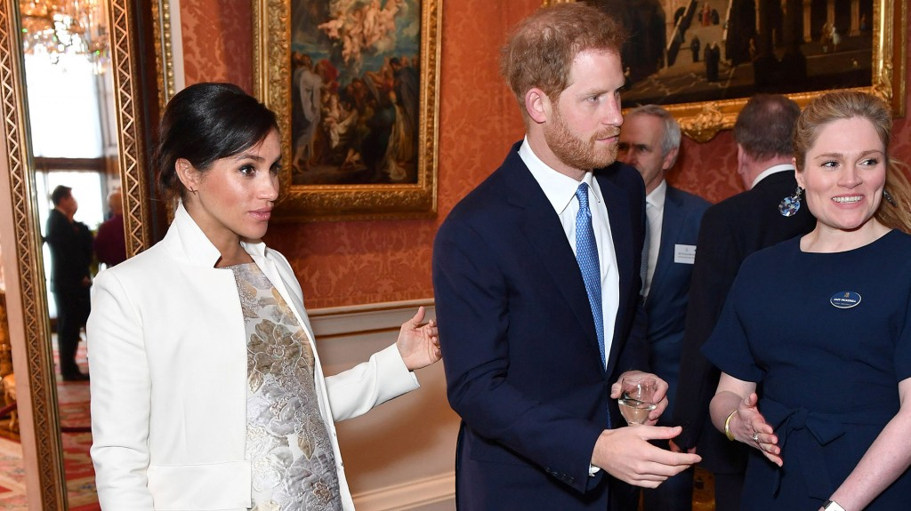 Britain's Meghan, Duchess of Sussex and Prince Harry the Duke of Sussex are seen at a reception to mark the fiftieth anniversary of the investiture of the Prince of Wales at Buckingham Palace in London, Britain March 5, 2019. Dominic Lipinski/Pool via REUTERS