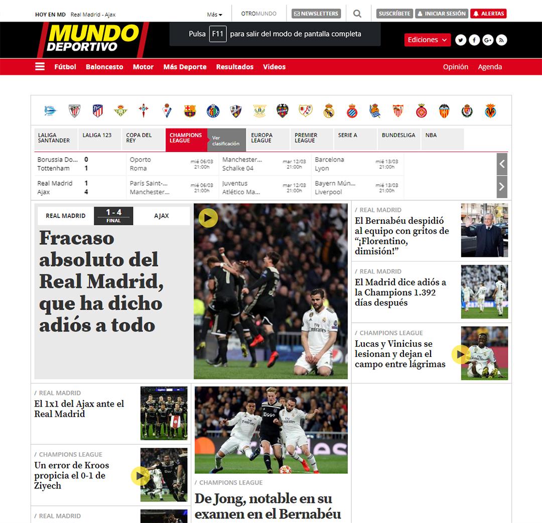 """""""Fracaso absoluto del Real Madrid, que ha dicho adiós a todo"""", Mundo Deportivo"""