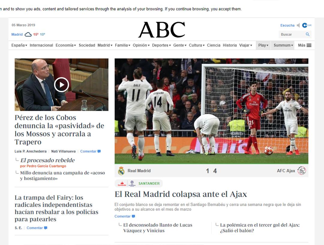 """El Real Madrid colapsa ante e Ajax"", ABC"