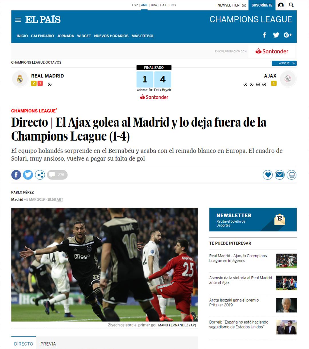 """""""Ajax golea al Madrid y lo deja fuera de la Champions League"""", El País"""