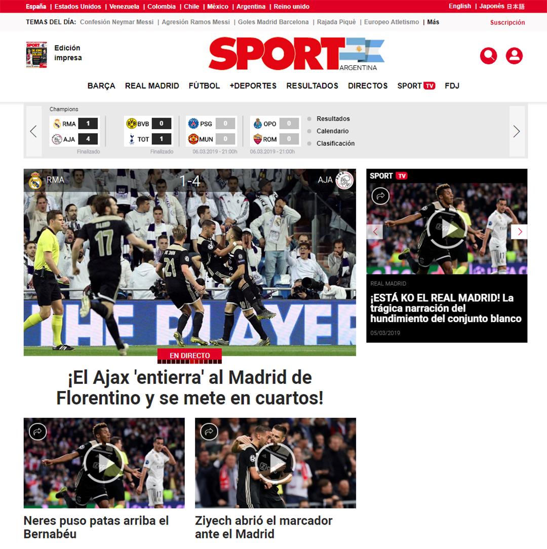"""""""El Ajax entierra al Madrid de Florentino y se mete en cuartos"""", Sport"""