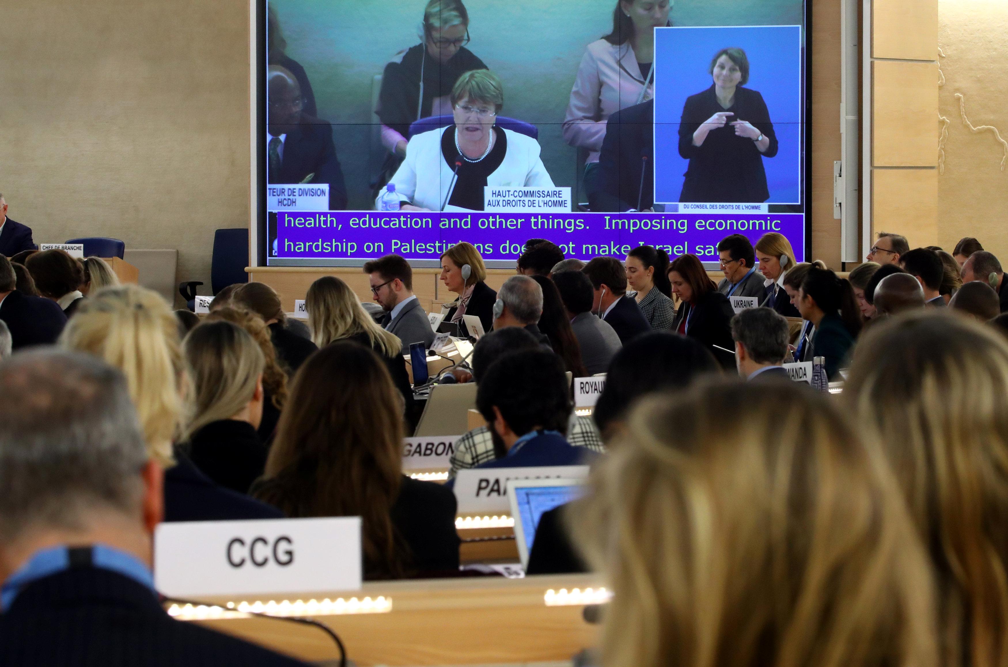 Michelle Bachelet durante la cumbre en Ginebra (REUTERS/Denis Balibouse)