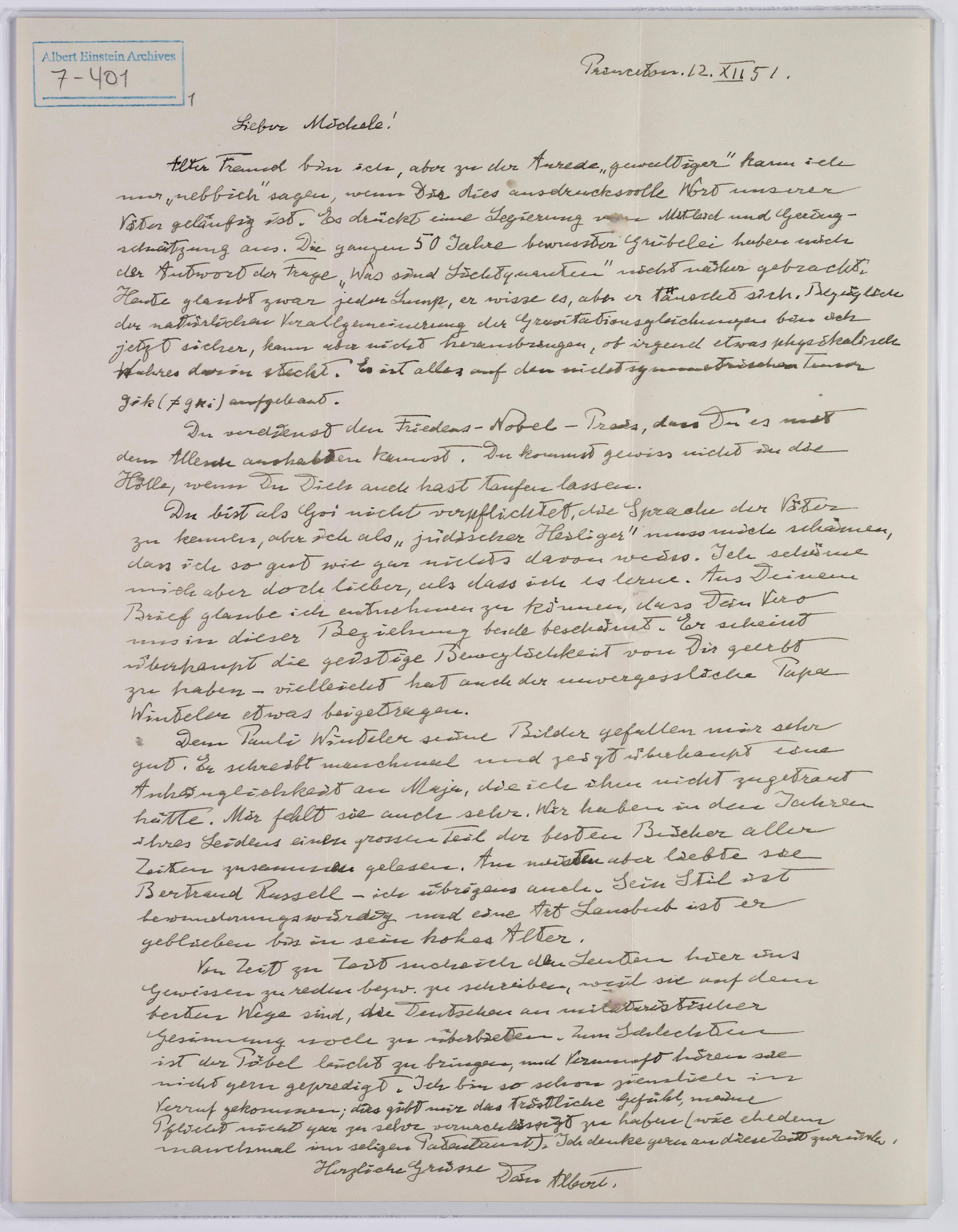 Unacarta escrita por Einstein a su amigo e ingeniero ítalo-suizo Michele Besso, en la que bromea y reflexiona sobre diferentes asuntos, como la lengua hebrea o la fe (EFE)
