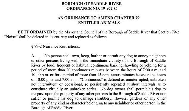 Después de las 22:00 horas, un perro no podrá ladrar de forma continuada durante un período superior a 15 minutos, según indica el documento (Foto: saddleriver.org)