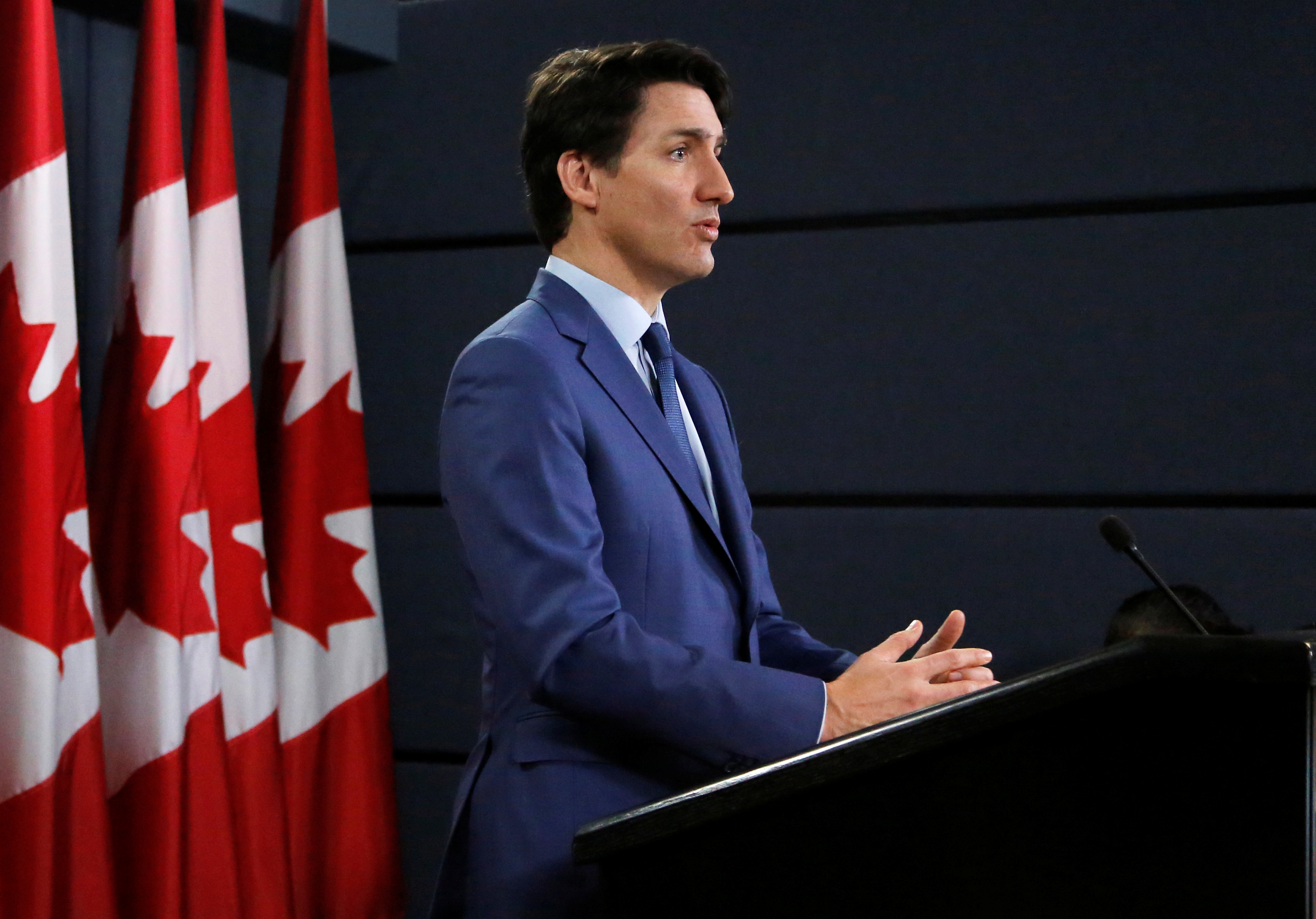El primer ministro canadiense Justin Trudeau durante una conferencia de prensa este jueves en Ottawa (REUTERS/Patrick Doyle)