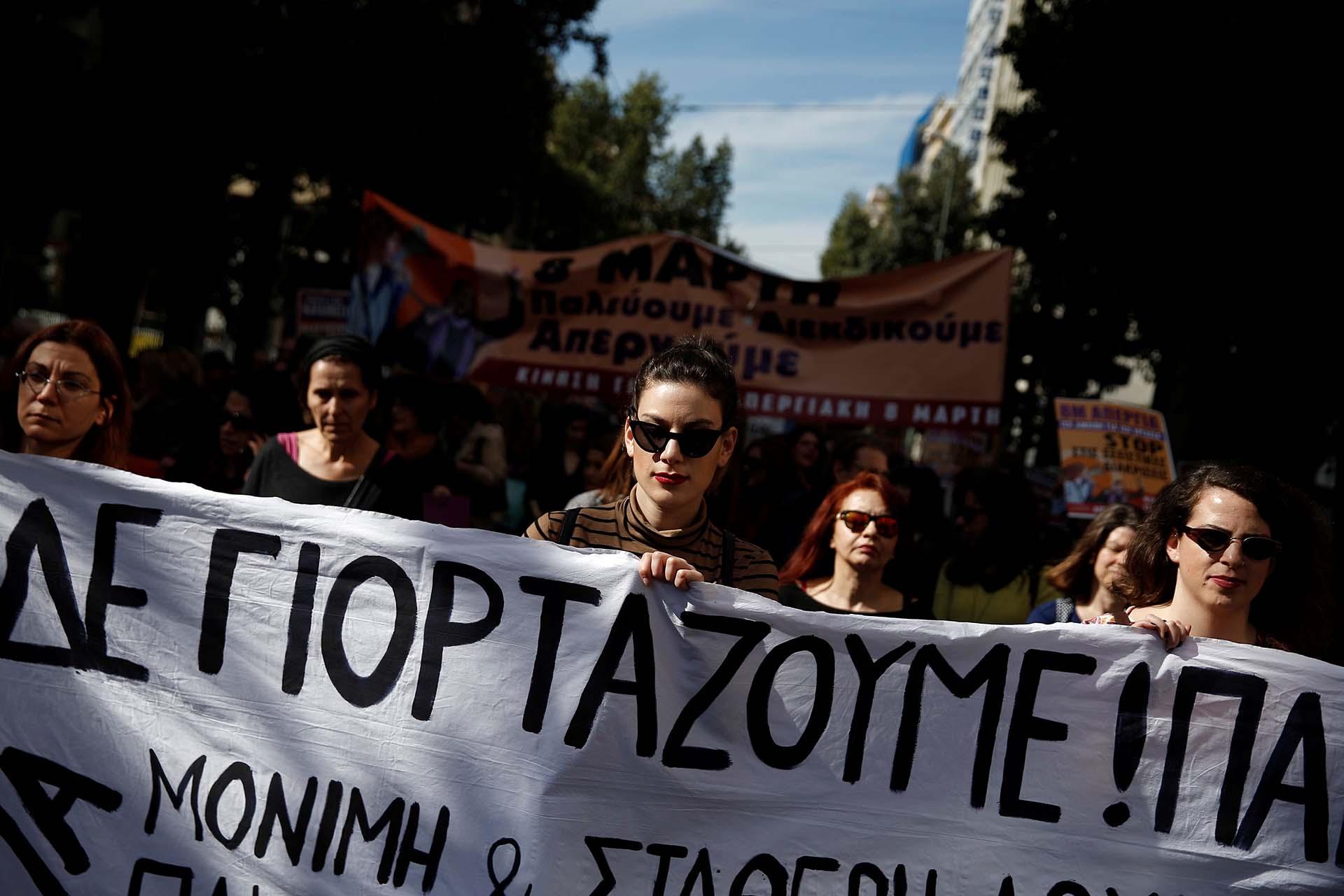 Mujeres se movilizan en Atenas, Grecia (REUTERS/Costas Baltas)
