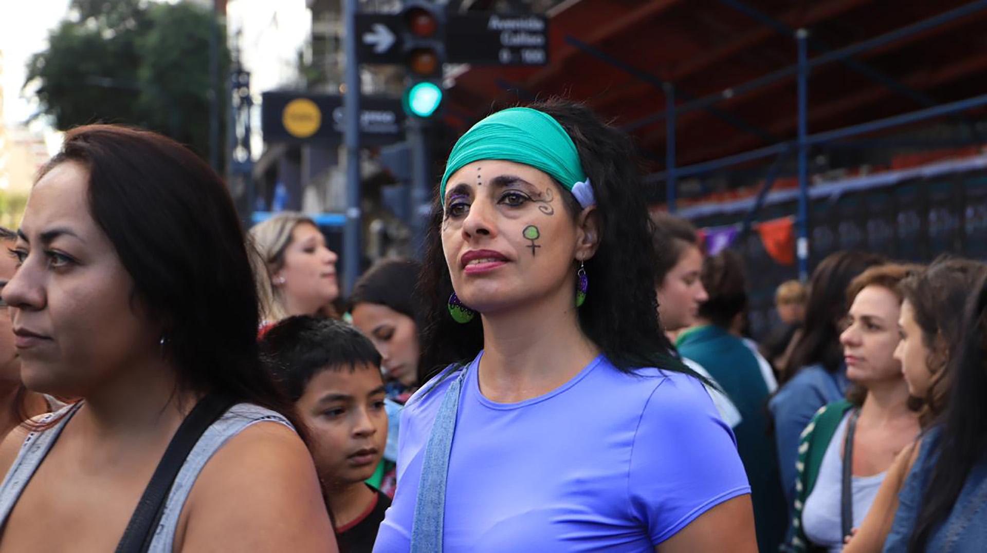 Algunas mujeres asistieron con sus hijos a la manifestación (Lihueel Althabe)