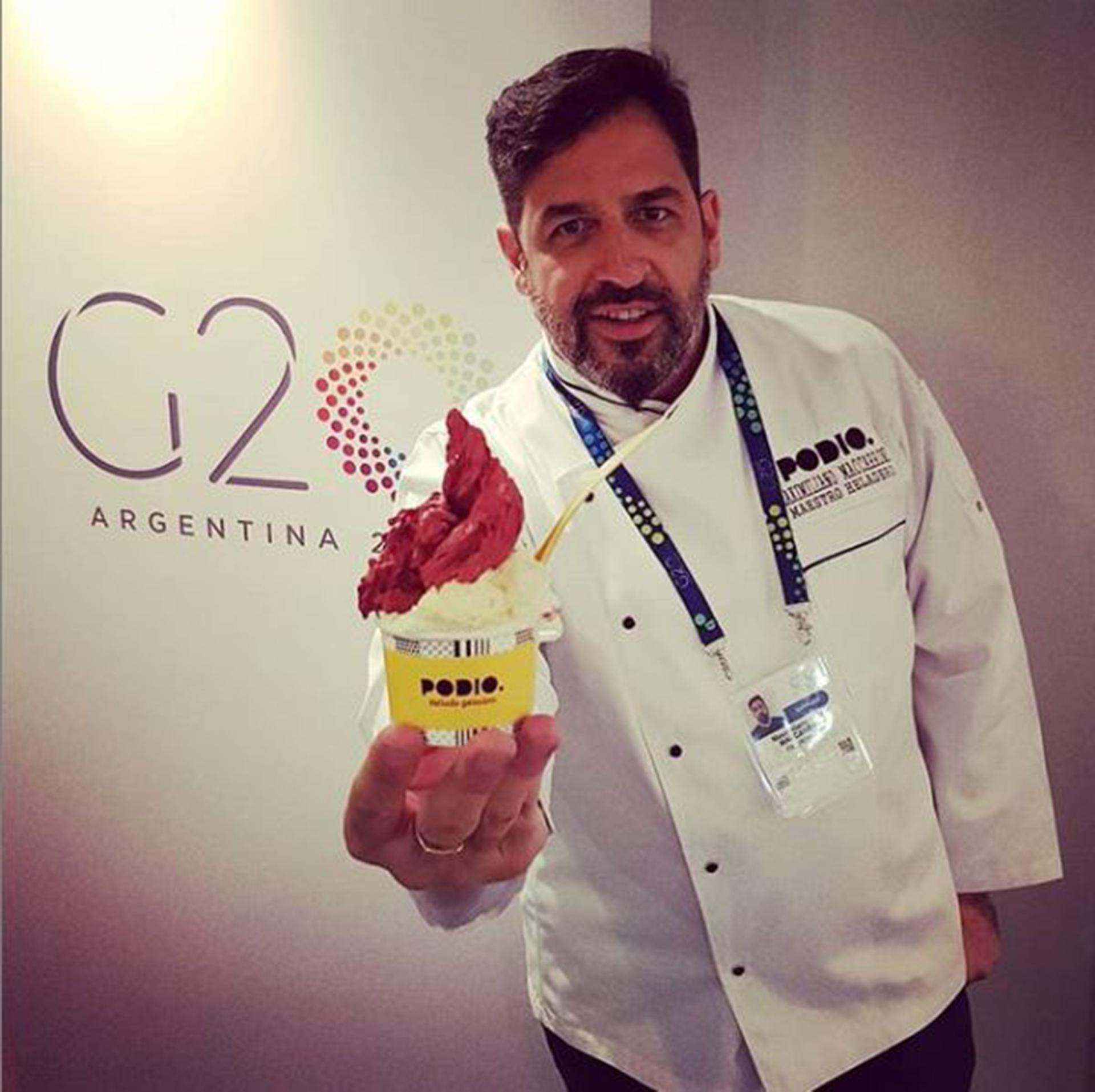 Maximiliano participó con Podio como el helado oficial del G20 en el mes de noviembre. Los líderes mundiales probaron el helado artesanal