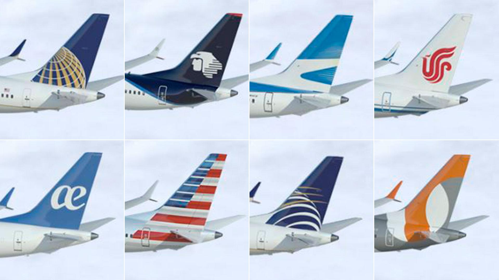 Algunos de los principales operarios del 737 MAX, en sentido horario: United Airlines, Aeromexico, Aerolíneas Argentinas, Gol Linhas Aereas, Copa Airlines, American Airlines y Air Europa