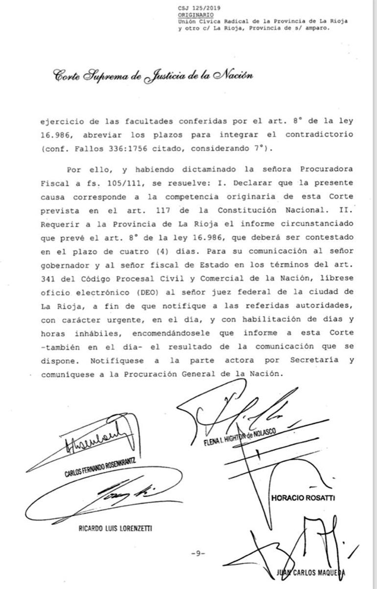 Rosenkrantz avaló la competencia de la Corte en la re-reelección de Sergio Casas en La Rioja