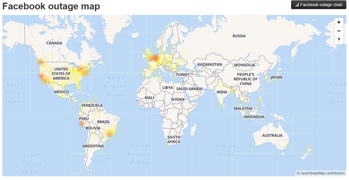Facebook funcionó con problemas en varias regiones del mundo. (Foto: DownDetector)