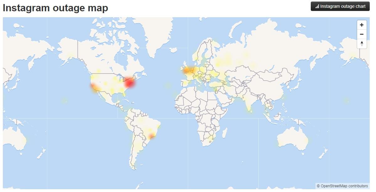 Usuarios afectados por problemas en Instagram, según reporta DownDetector