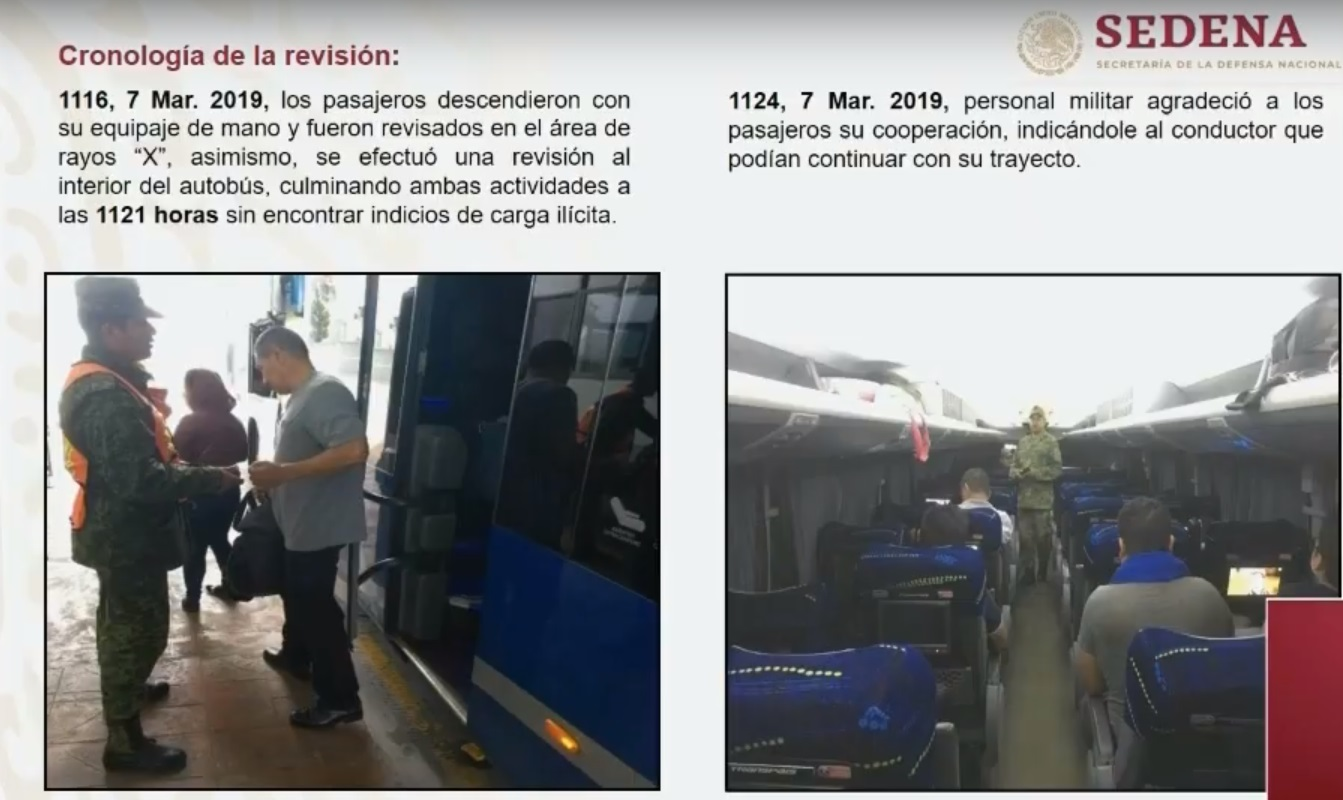 El General Luis Cresencio Sandoval González, Secretario de la Defensa Nacional informó que sí se han llevado a cabo revisiones periódicas de vehículos en Tamaulipas, sin embargo la desaparición de migrantes sigue activa Foto: (Captura de pantalla)