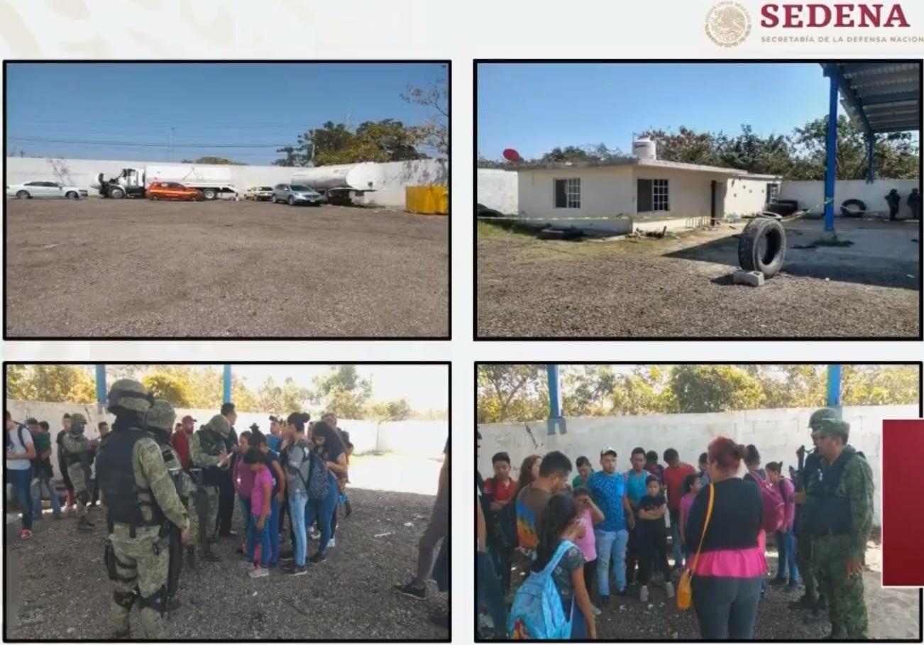 34 migrantes, entre ellos varios niños, fueron rescatados este miércoles en Tamualipas por parte de elementos del ejército y la marina, en un predio donde se encontraban retenidos en contra de su voluntad Foto: (Captura de pantalla)