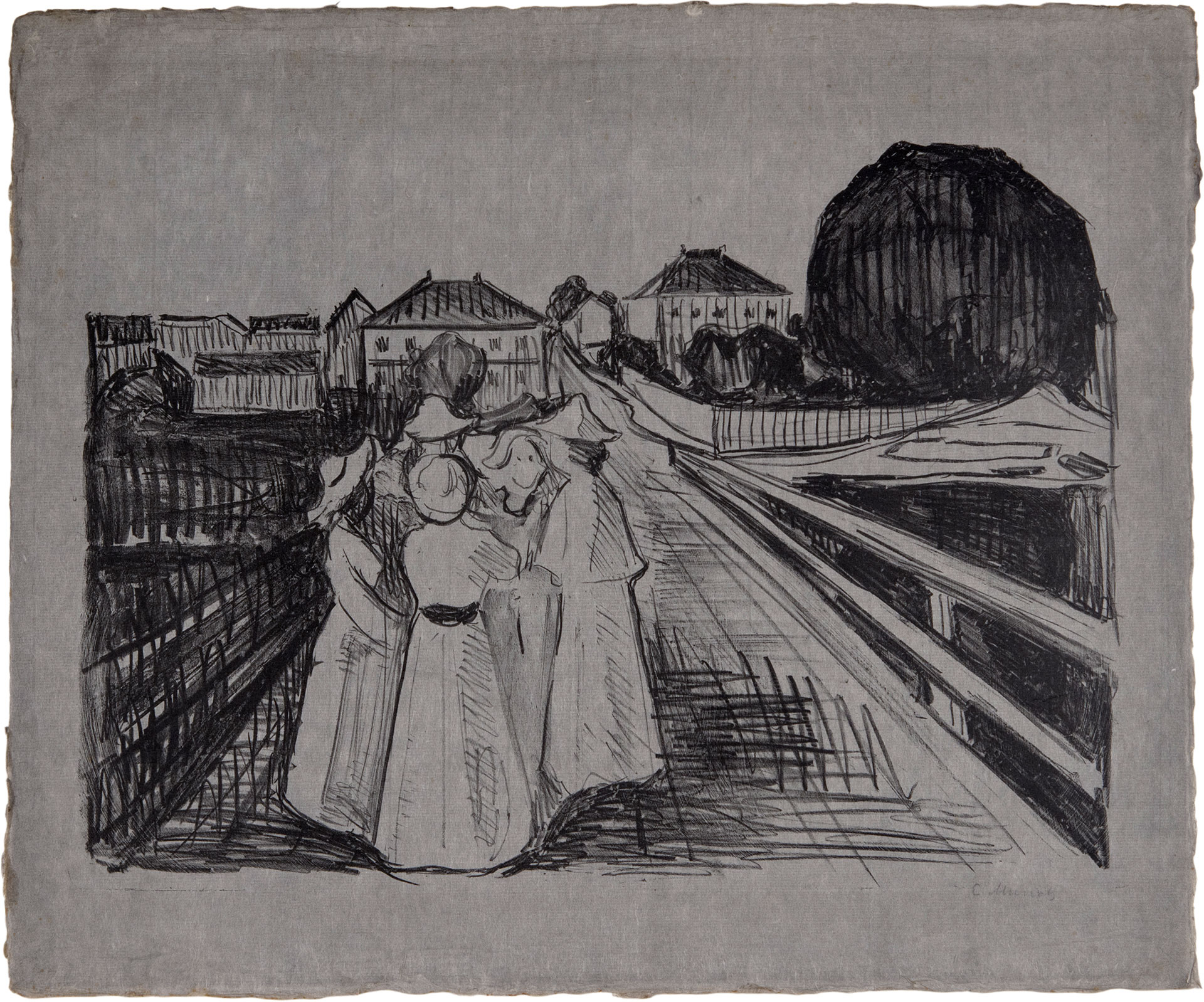 """On The Bridge"", litografía de Edvard Munch (1912-1913), en David Tunick."