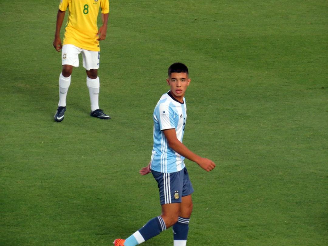 Sforza durante la final del Sudamericano Sub 15 en 2017 frente a Brasil
