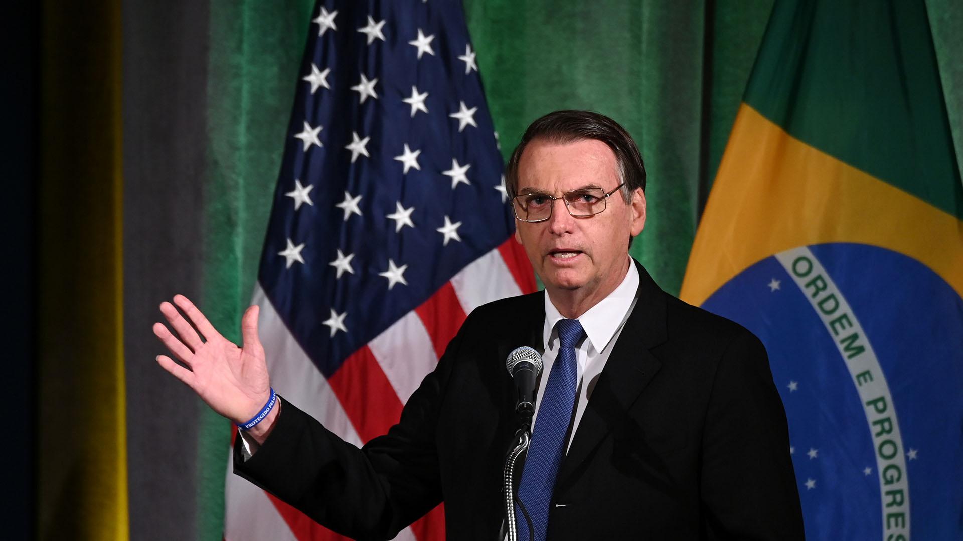 Jair Bolsonaro dio un discurso ante la Cámara de Comercio de EEUU(REUTERS/Erin Scott)