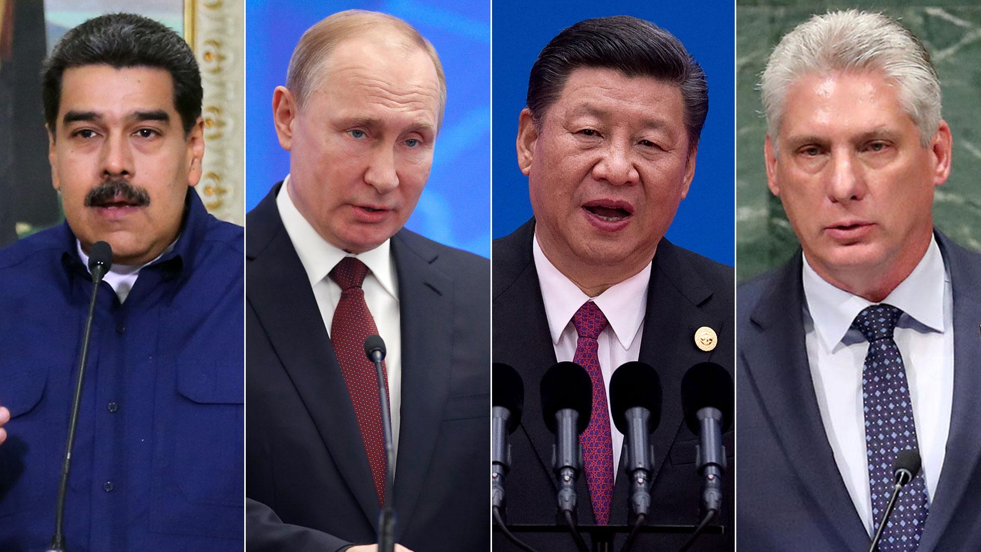 El venzolano Nicolás Maduro, el ruso Vladimir Putin, el chino Xi Xinping y el cubano Miguel Diaz Canel