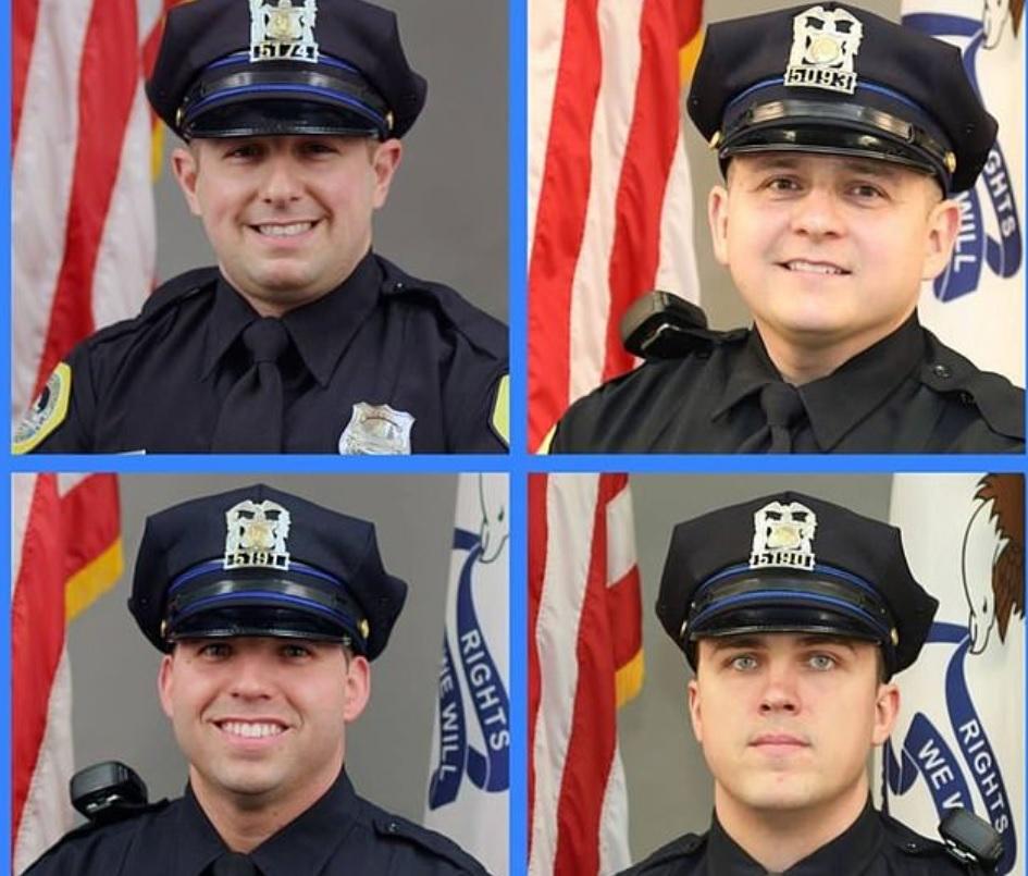 Los cuatro policías recibieron un homenaje por su acción heroica (Foto: Departamento de Policía Des Moines)