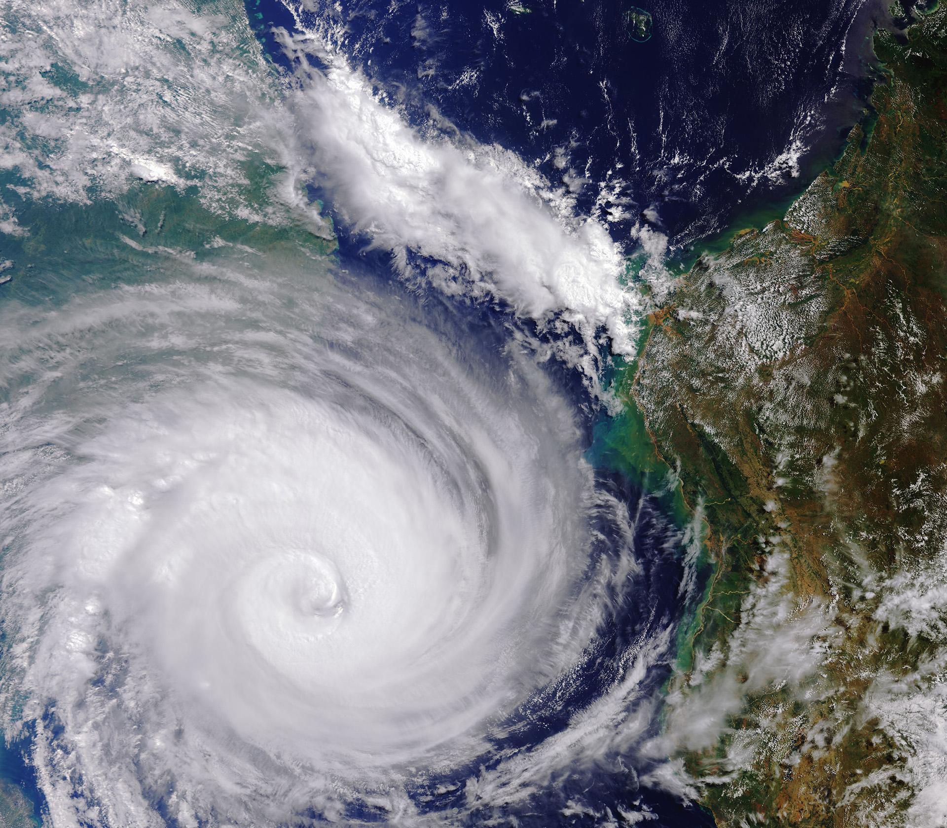 Imágenes satelitales de la misión Copernicus Sentinel-3 publicadas por la Agencia Espacial Europea (ESA) el 20 de marzo de 2019, muestran el ciclón Idai el 13 de marzo de 2019, al oeste de Madagascar ydirigiéndose a Mozambique (AFP)