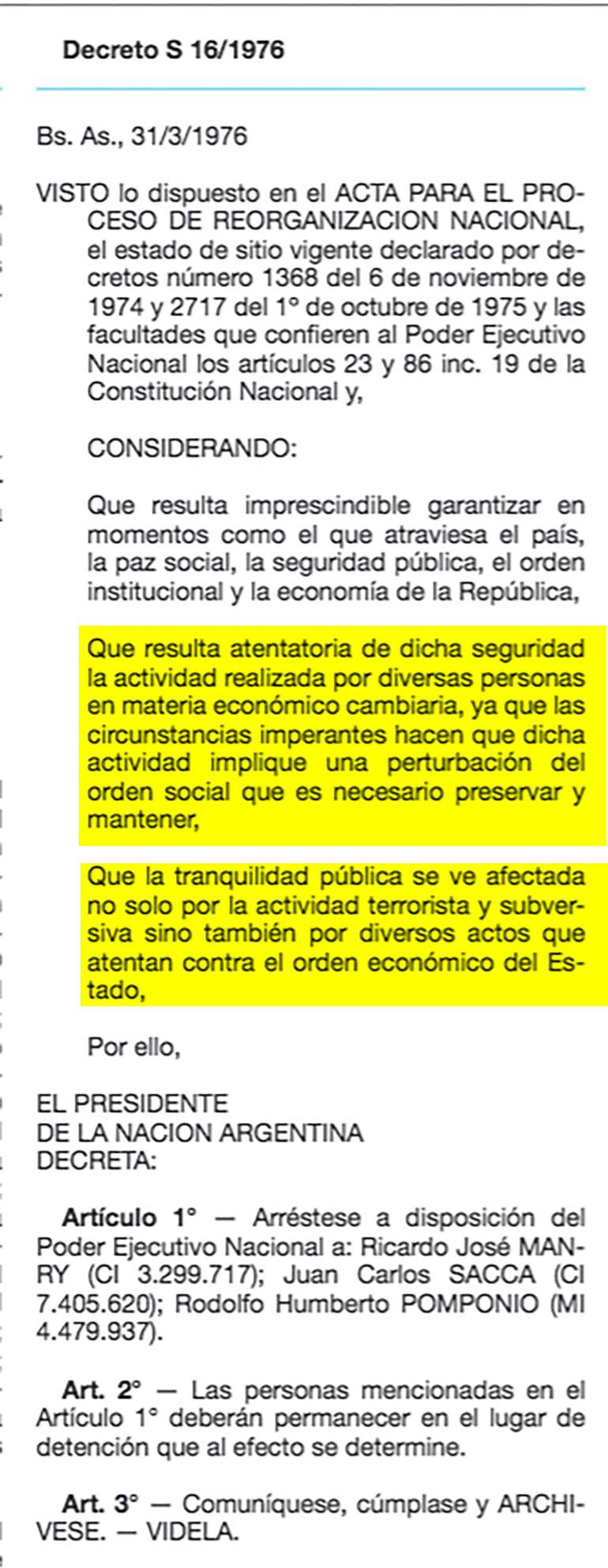 Decreto 161976 atentan contra orden economico