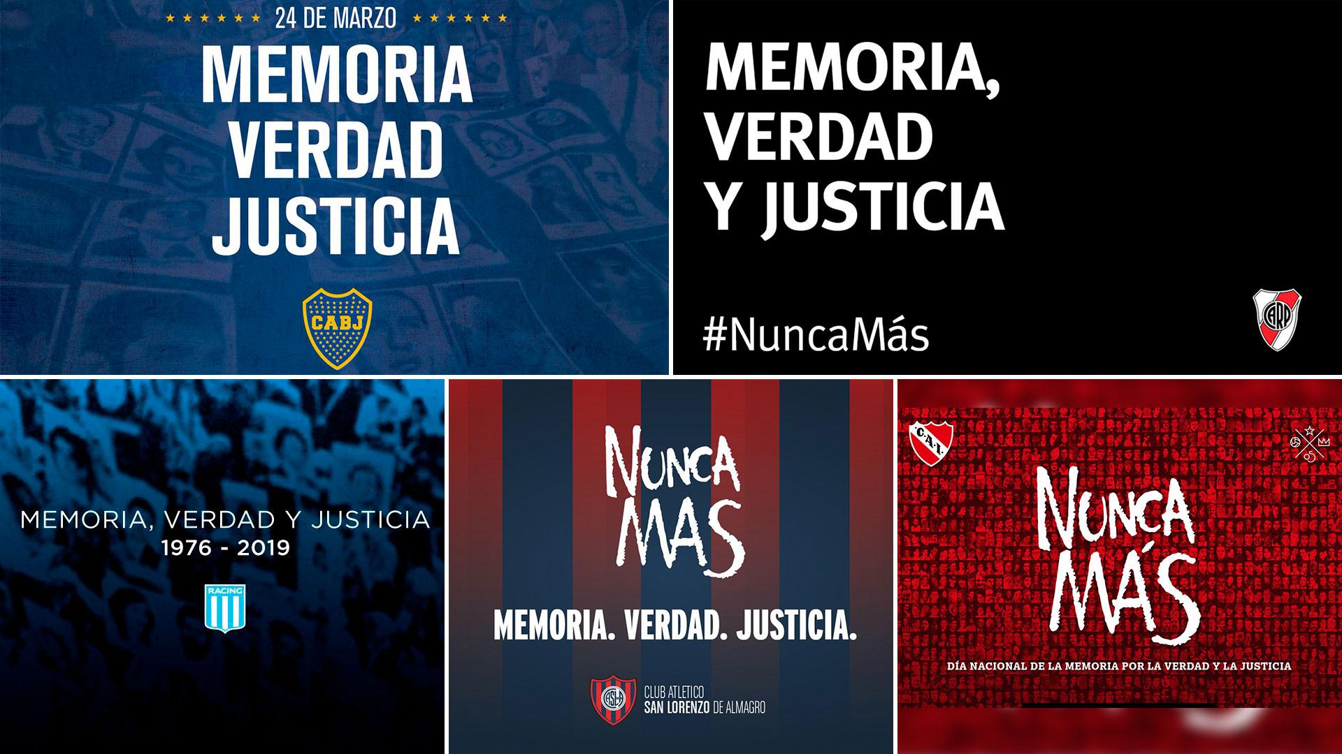 Boca Juniors, River Plate, Independiente, Racing Club y San Lorenzo reivindicaron la consigna de Nunca Más en el Día Nacional de la Memoria