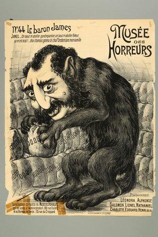 Un póster producido en 1900 para el Museo de los Horrores en Francia en el cual se representa a James de Rothschild, quien fundó la división en Francia del banco familiar y fue una figura prominente de la sociedad francesa de ese entonces. (Museo Conmemorativo del Holocausto de Estados Unidos)