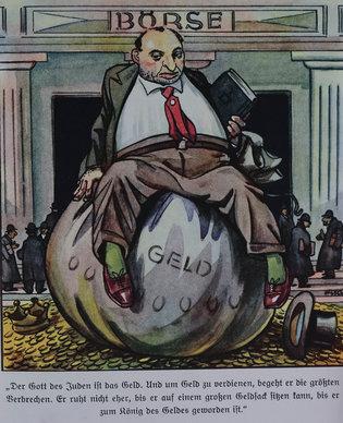 """Una imagen proveniente de un libro de propaganda nazi para niños de alrededor de 1938. El texto dice: """"El dinero es el dios del judío. Comete los más grandes crímenes para ganar dinero. No descansará hasta poderse sentar en un gran costal de dinero"""". (Biblioteca Wiener para el Estudio del Holocausto y el Genocidio, Londres)"""
