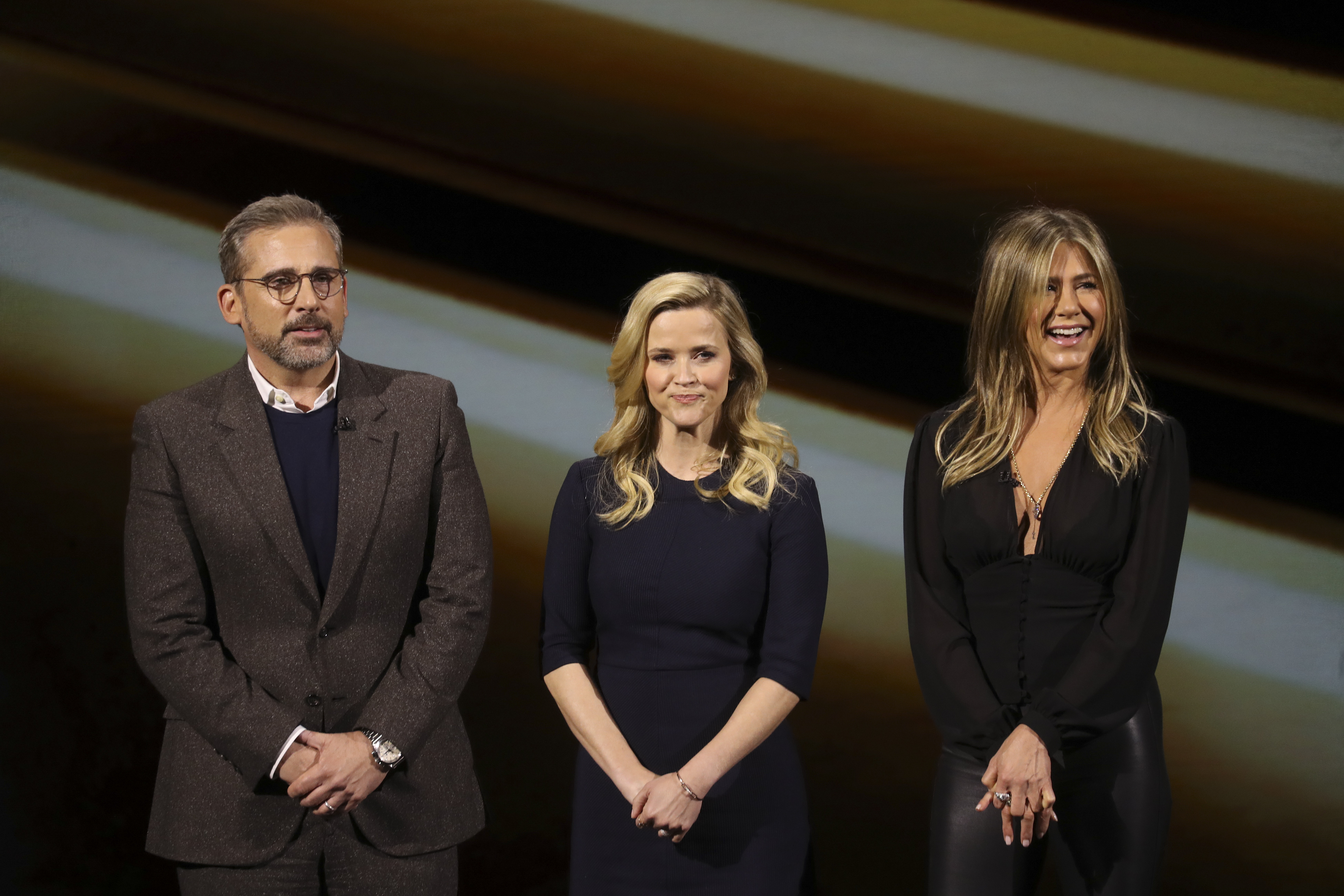 Steve Carell, Reese Witherspoon y Jennifer Aniston durante la presentación de Apple TV+