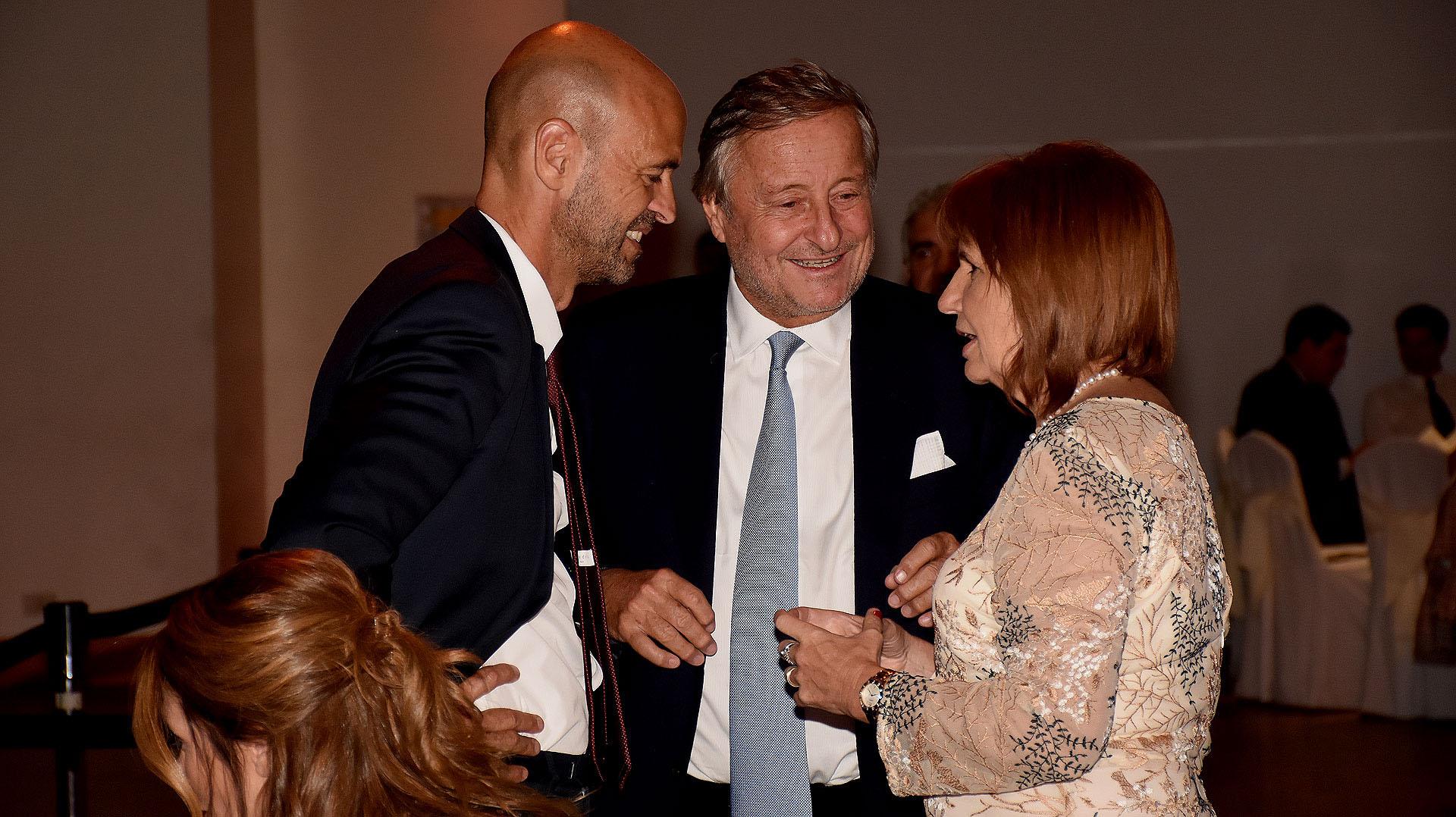 Guillermo Dietrich, Cristiano Rattazzi y la ministra de Seguridad, Patricia Bullrich