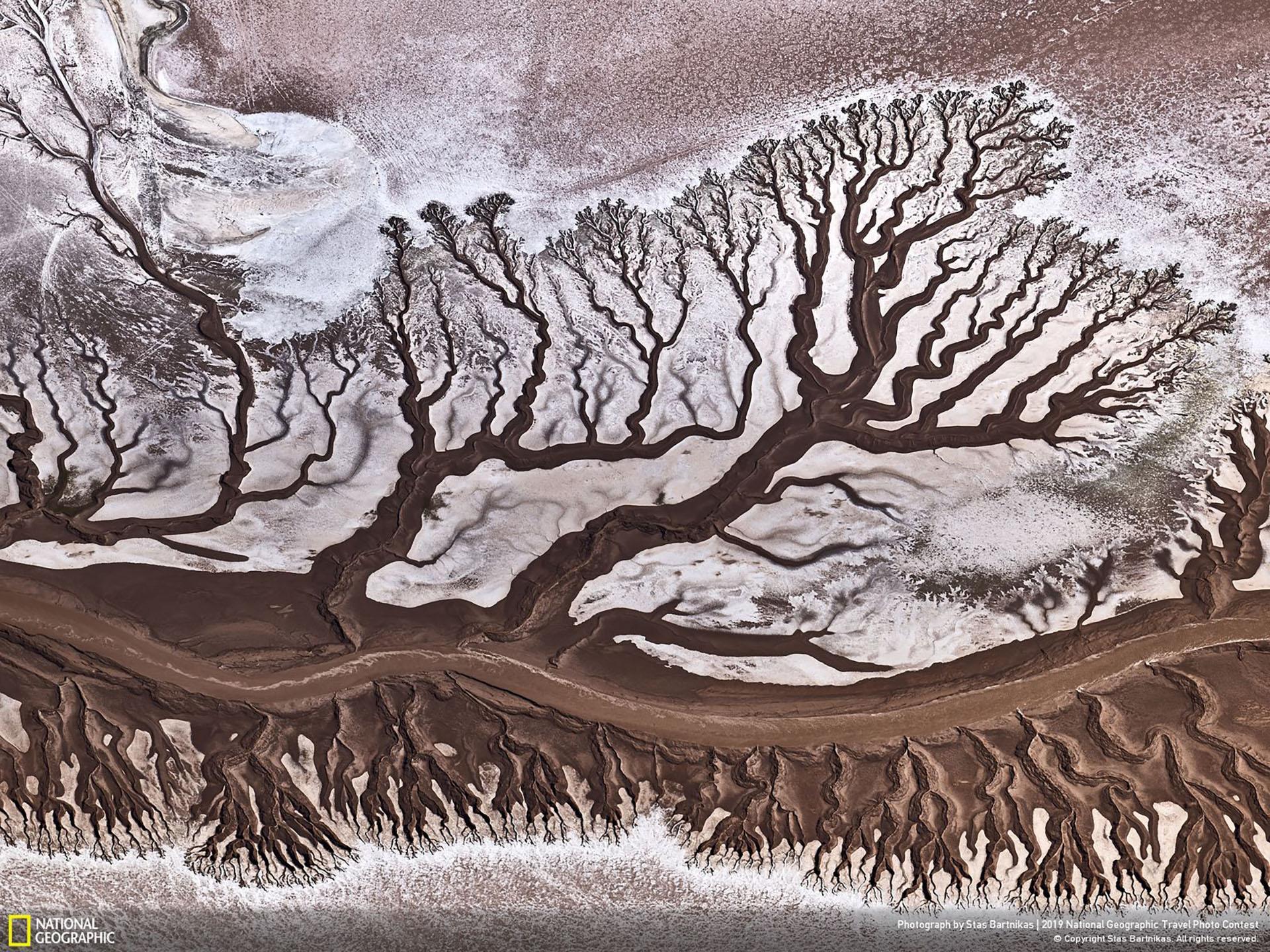 """""""Río Colorado"""", por Stas Bartnikas: """"Como es sabido, el río Colorado es muy poco profundo debido al uso activo de su agua para fines agrícolas. Y cuando llega al océano en México está casi seco. La toma aérea fue tomada desde una aeronave Cessna"""". (""""Colorado River"""" / 2019 National Geographic Travel Photo Contest / Categoría: Naturaleza)"""