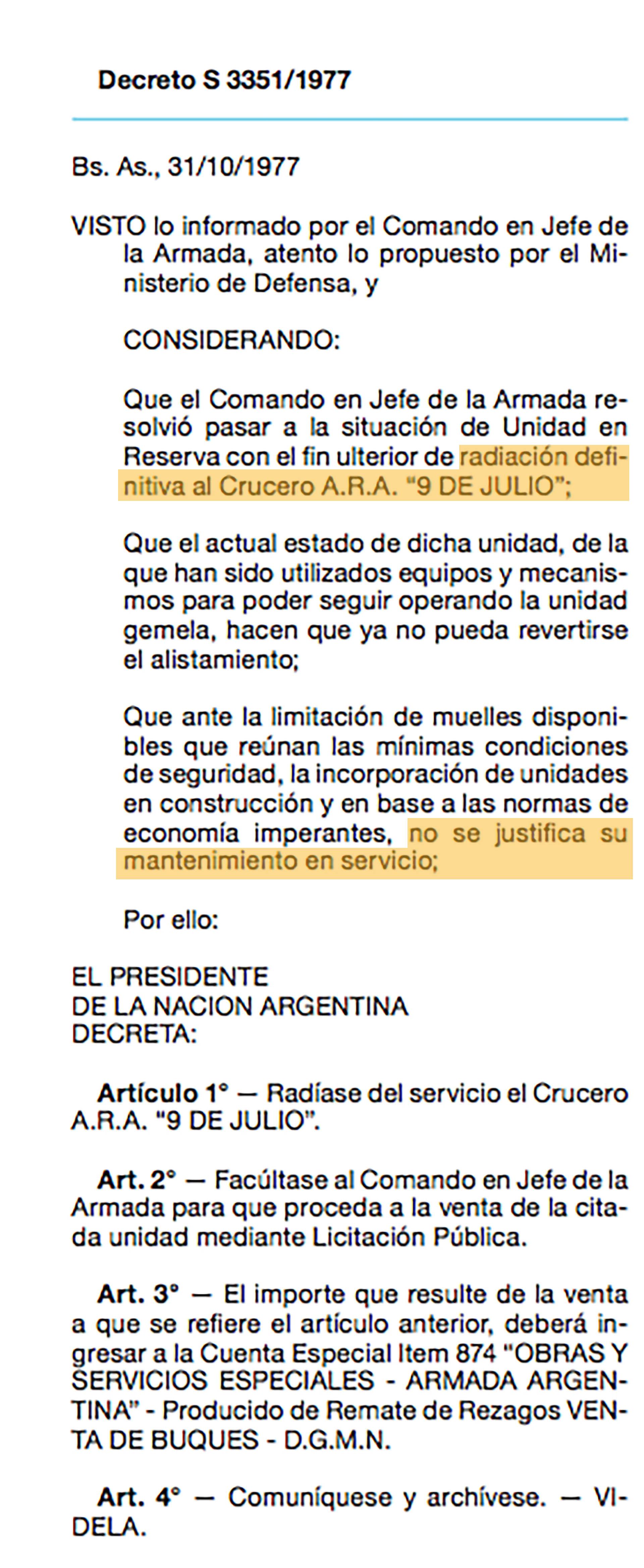 DECRETO VENTA ARA 9 DE JULIO - Decretos Secretos de la Dictadura