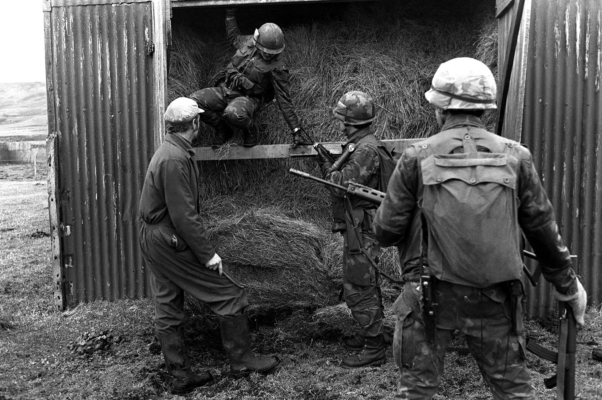 Un lugareño ayuda a soldados argentinos a revisar un contenedor en su establecimiento. Sólo contiene pasto y forraje para sus ovejas (Telam).