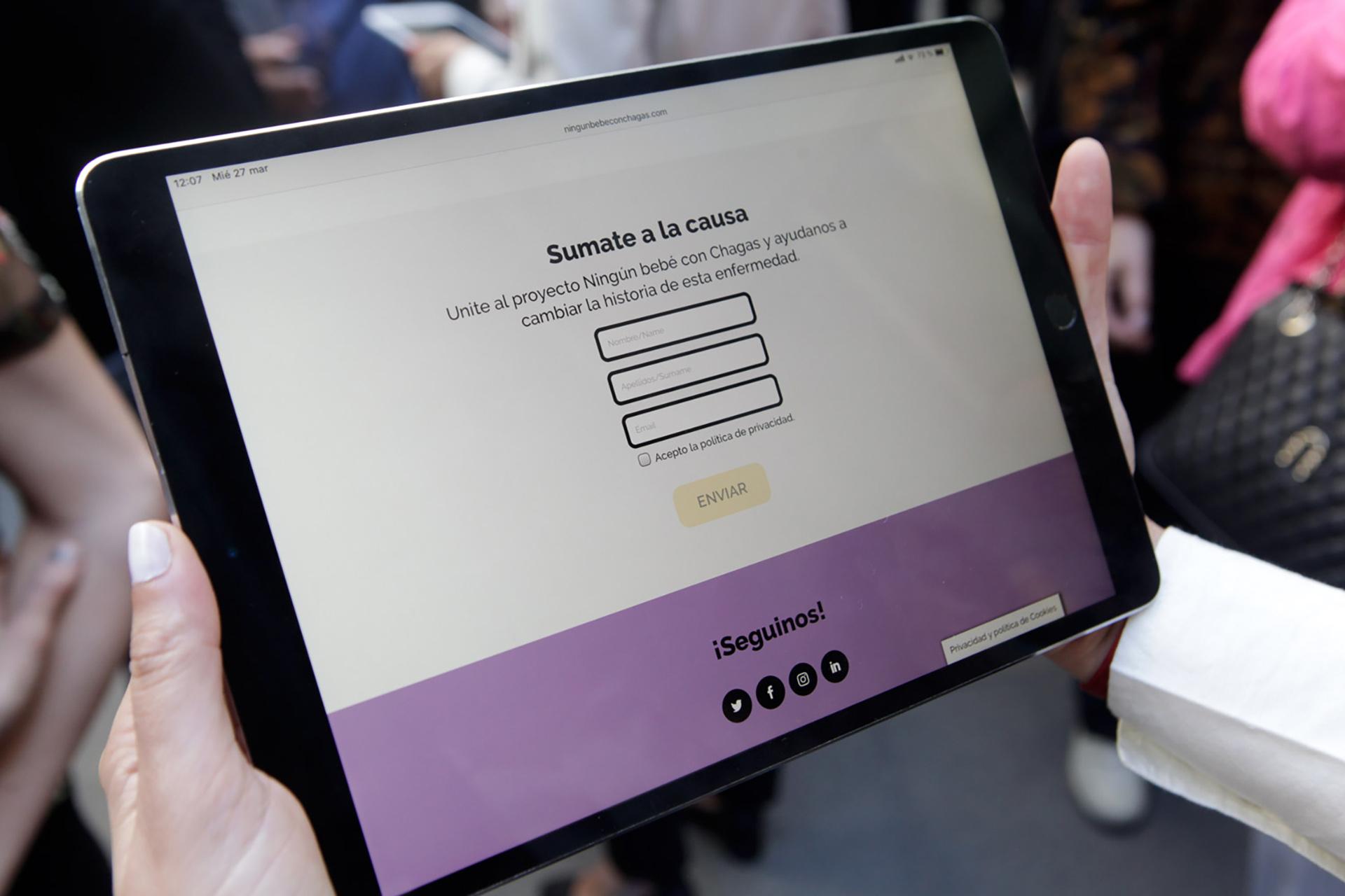 Imagen del sitio web para sumarse a la Campaña #ningúnbebéconchagas