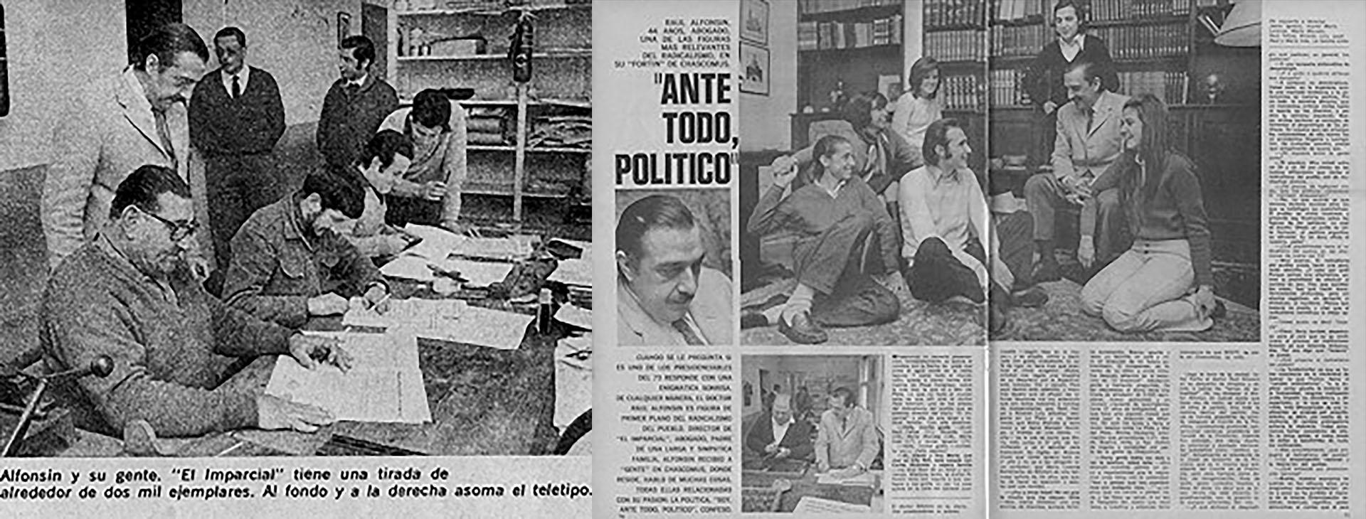 """Alfonsín en """"El imparcial"""", la publicación que fundó en su pueblo natal"""