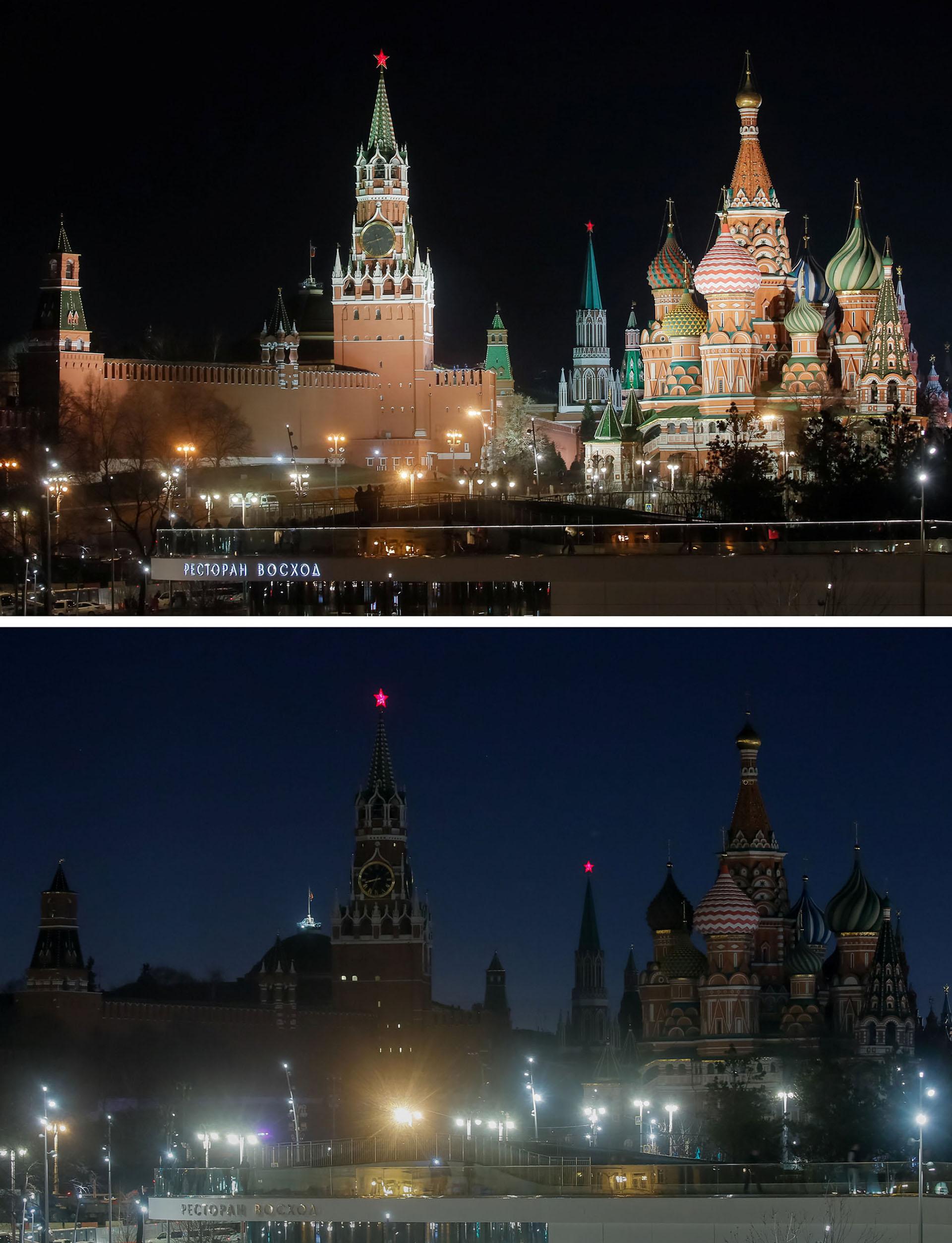 El Kremlin, en el centro de Moscú, antes y durante la hora señalada