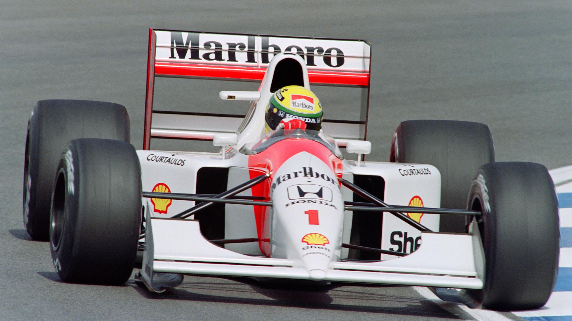El 1 en la trompa del McLaren: Senna fue campeón de la Fórmula 1 en 1988, 1990 y 1991