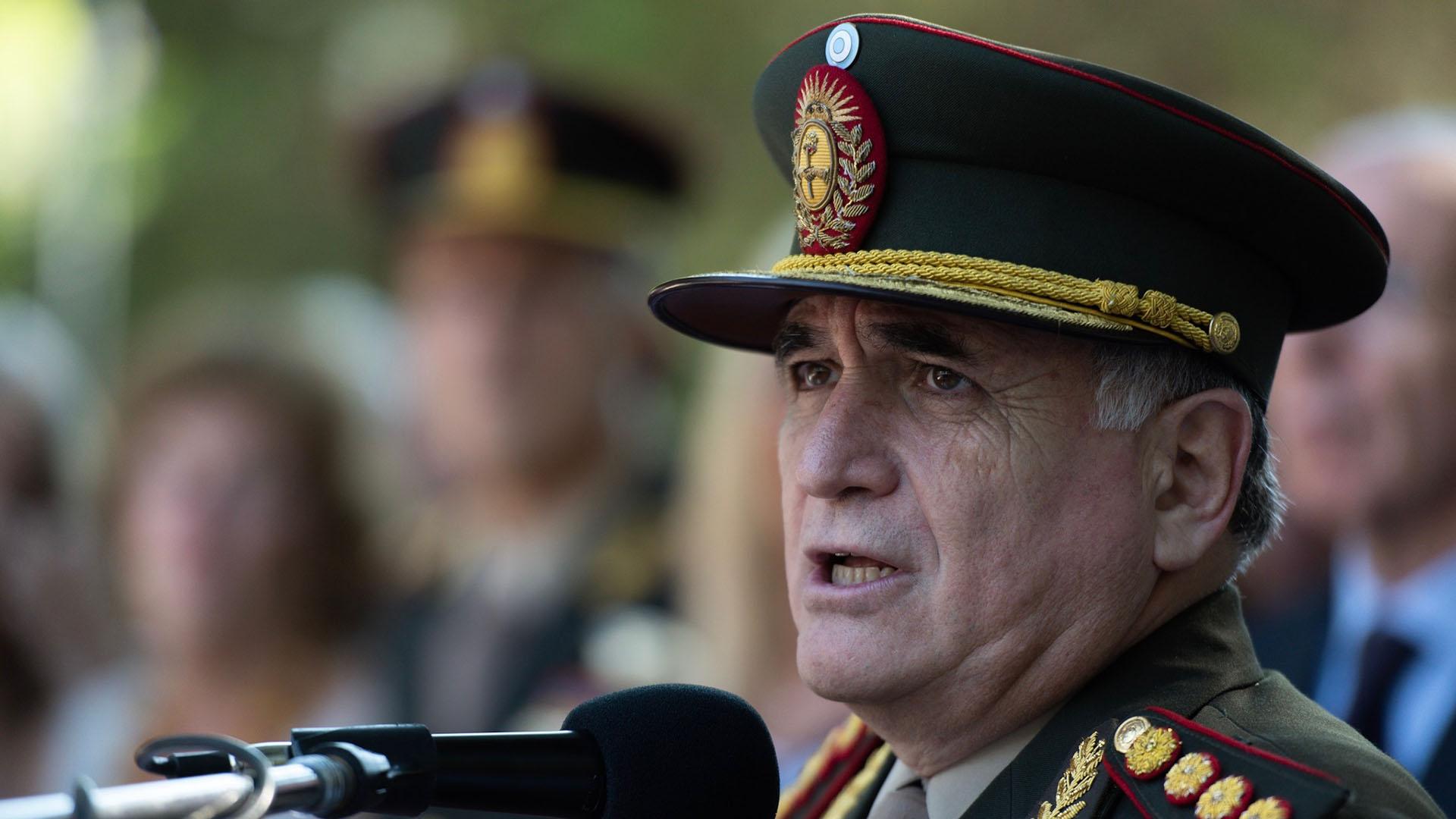 El jefe del Estado Mayor Conjunto, Bari Del Valle Sosa, ex combatiente de Malvinas fue el encargado de evocar la gesta del Atlántico Sur