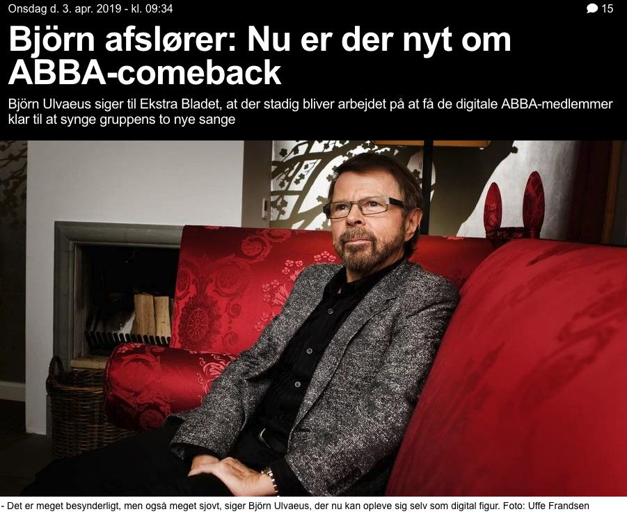 Bjorn Ulvaeus entrevistado por ekstrabladet.dk