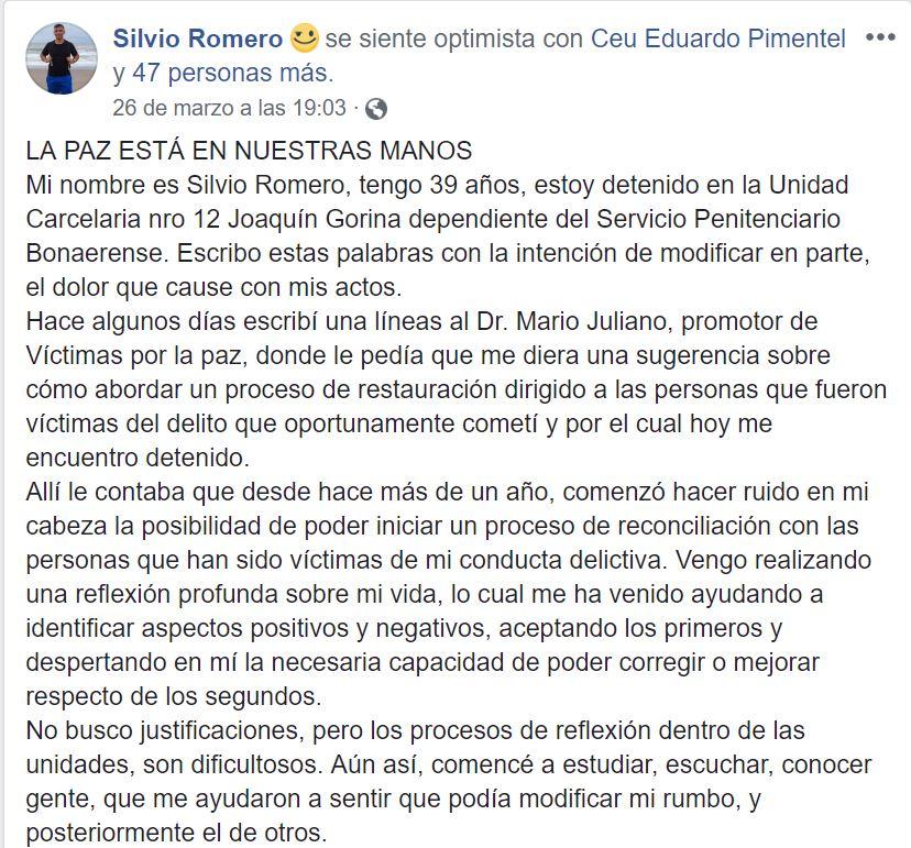 Fragmento de la carta publicada por Romero en Facebook.