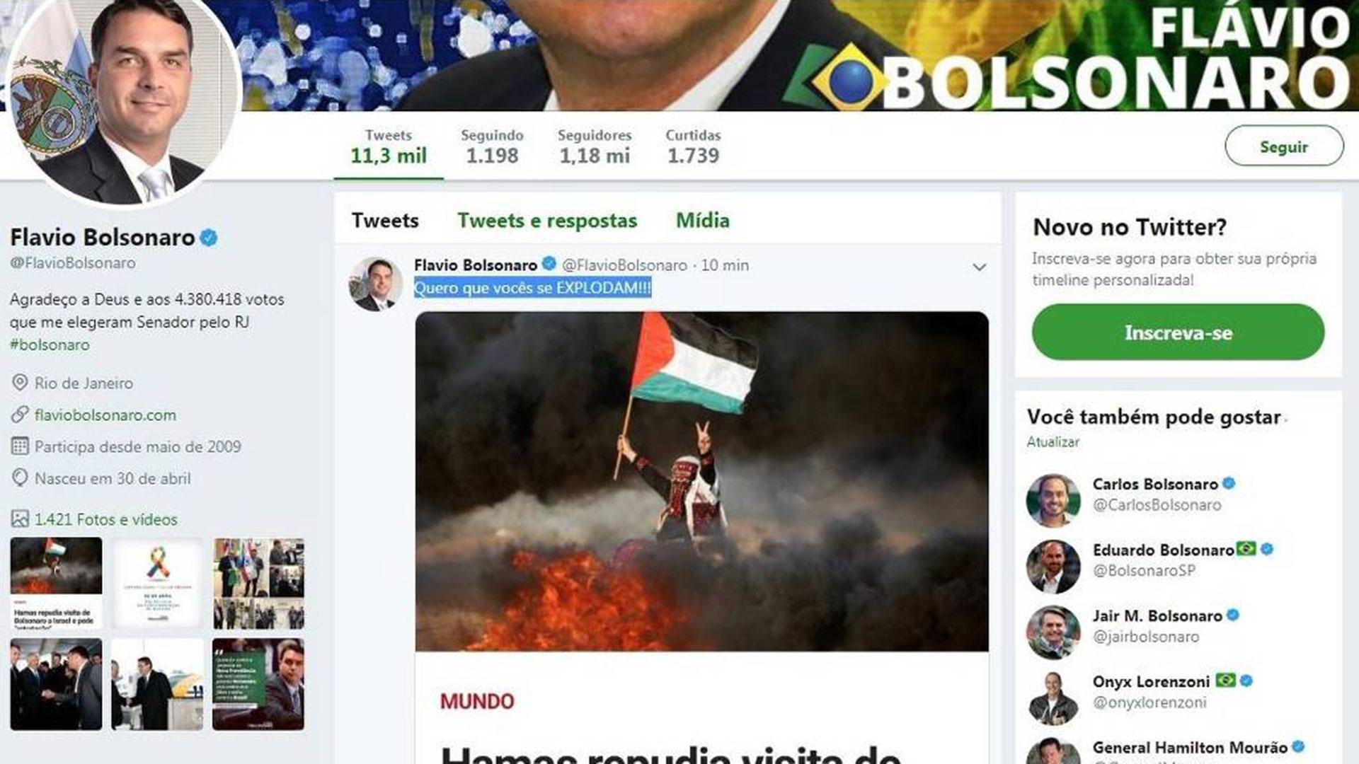 La publicación de Flavio Bolsonaro en Twitter que luego borró