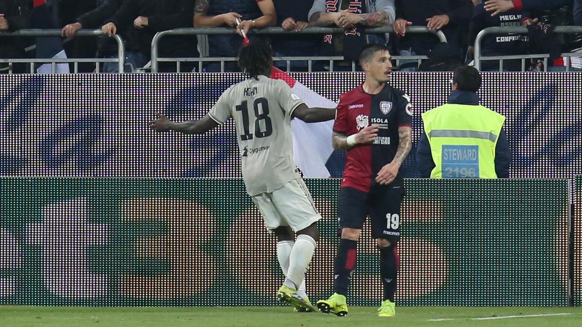 Moise Kean, joven promesa de la Juventus, festeja su gol ante Cagliari (EFE)