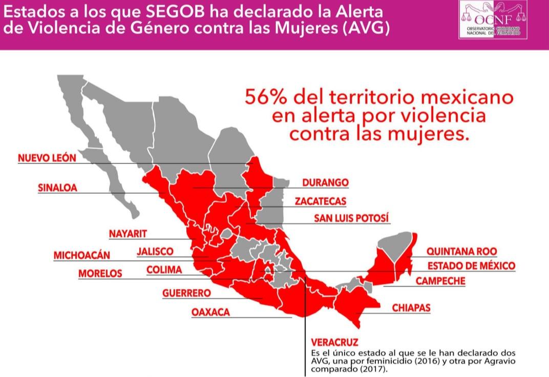 alerta genero 2019 mexico feminicidio