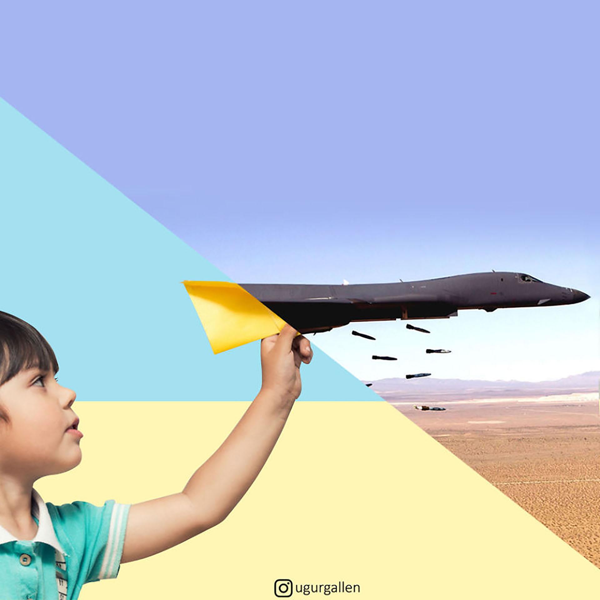 Un niño y un bombardero