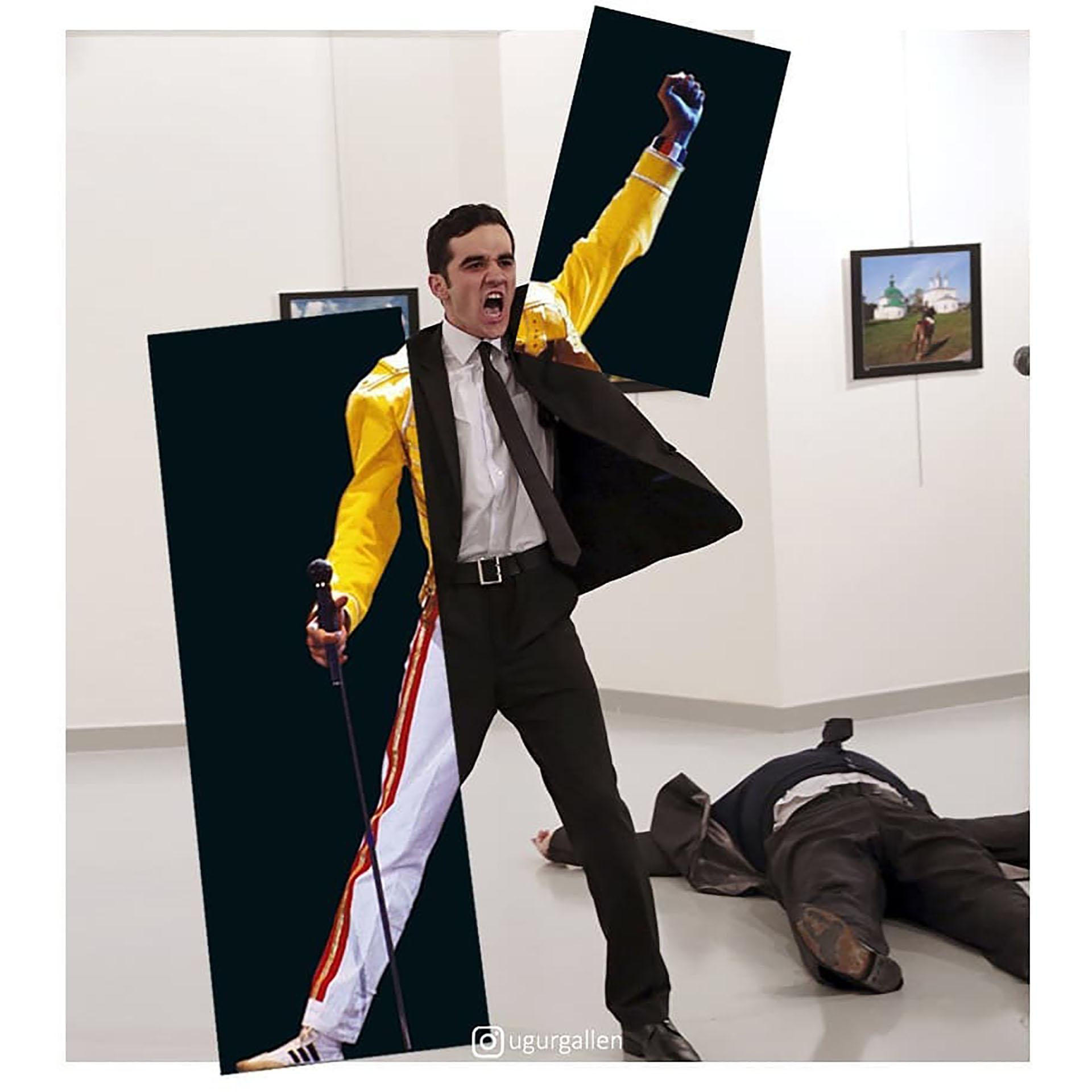 Una pierna de Freddie Mercury sobre la imagen del asesino del embajador ruso en Turquía, Andrey Karlov