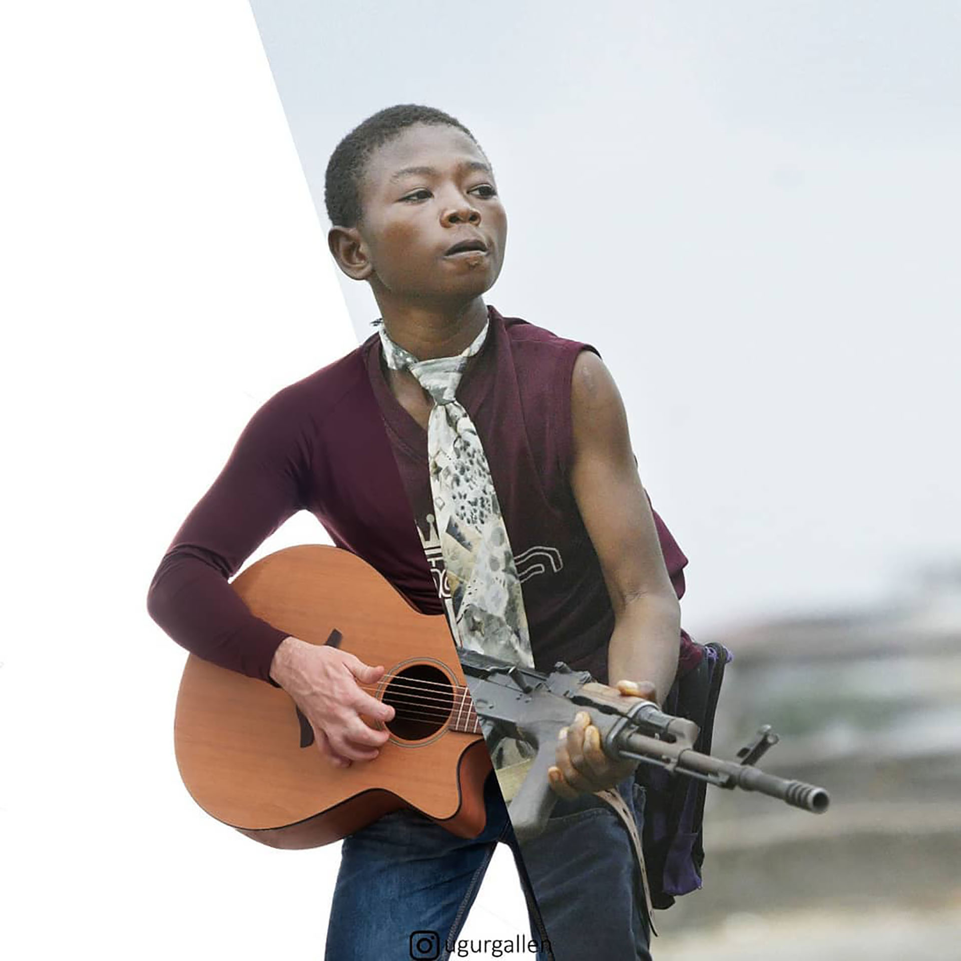Un chico empuña una ametralladora en Liberia y otro, una guitarra