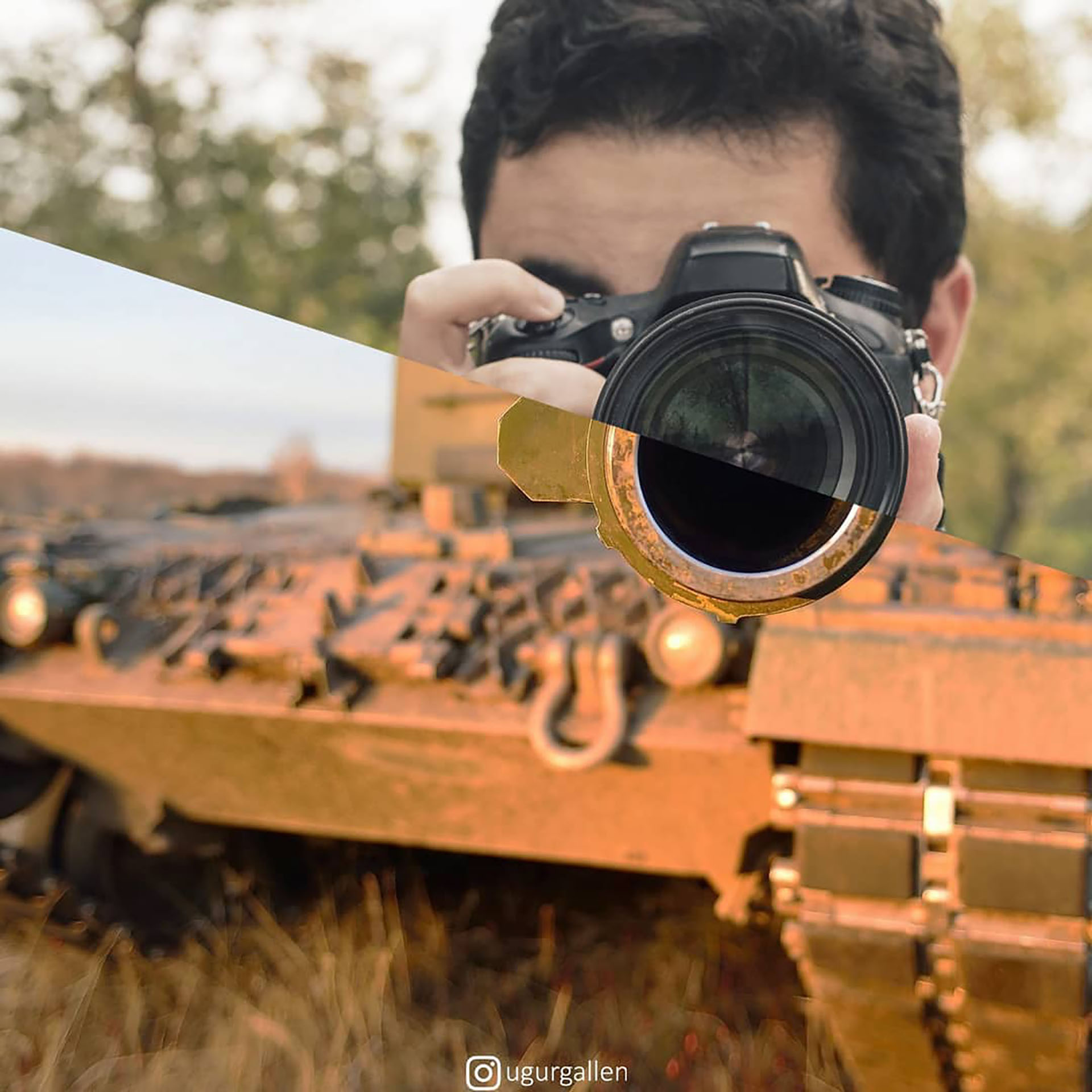 Un fotógrafo y un tanque