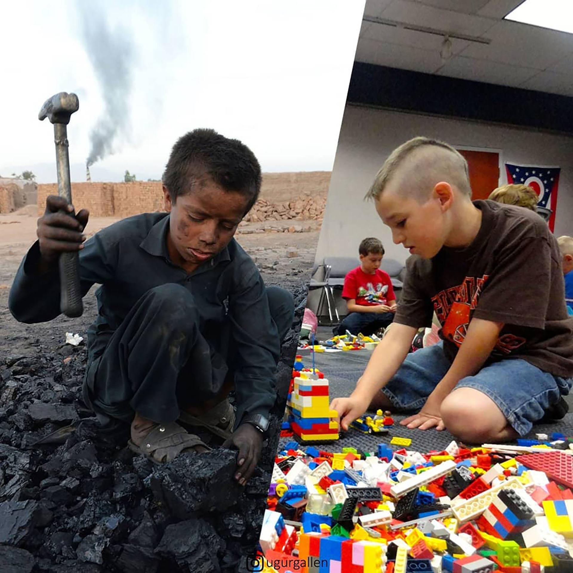 Un niño afgano trabaja en una mina de carbón en Jalalabad, Afganistán, y otro niño juega con legos.